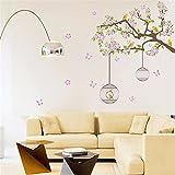 ALLDOLWEGE Elegantes Schlafsofa Hintergrund Wand Dekor Kunst abnehmbare Blume Wandaufkleber singen...