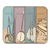 Deglogse Estera del cojín de ratón del Juego, Sketch Vintage Music Instruments Drawing Bagpipe Banjo Trumpet Piano Mouse Pad, Desktop Computers mats
