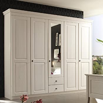 Landhaus Kleiderschrank »DENIO226« Massiv, Weiß Lasiert