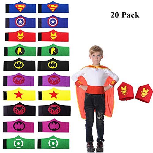 (UCLEVER 20 Stück Kinder Superhelden Armbänder Party Favor Kostüme Comics von 3 bis 12 Jahre jungen)