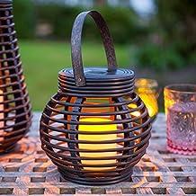 Farolillo Solar Redondo Efecto Ratán de Vela Led para Jardín y Exteriores de Lights4fun