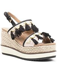 Ideal Shoes - Sandales compensées style bohême Scarlett