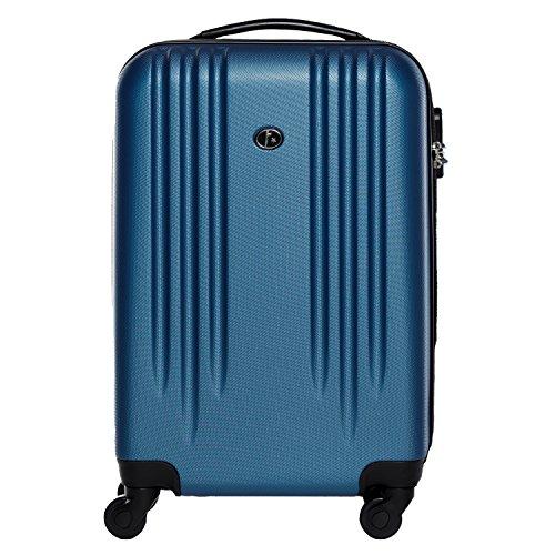 FERGÉ Handgepäck-Koffer Hartschale Marseille Bordgepäck Rollkoffer 55 cm Reisekoffer Kabinen-Trolley 4 Rollen 100% ABS blau