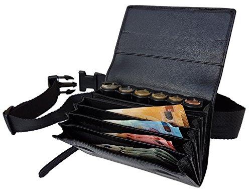 CLAIRE-FONCET LEDER KELLNERTASCHE, kellnergeldbörse, Kellnergeldbeutel, inkl. Euro-6 Geldmünszen-Geldwechsler sorter Bzw. MÜNZENHALTER, Münzsortierer, Münzspender, SCHLIESSUNG MIT STARKEN MAGNETEN - E-geld-sorter