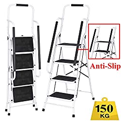 Foldable 4 Step Tread Ladder Stepladder Portable Folding Non Slip Metal Steel Heavy Duty with Safety Handrail Non Slip Rubber Feet, Household Ladder 150kg Load-Easy to Store/Carry
