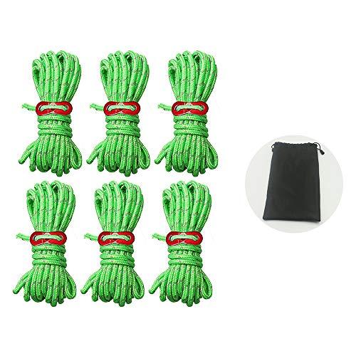 Gotyou 6 PCS 4m*4mm Cuerda Reflectante Camping Nylon,Verde