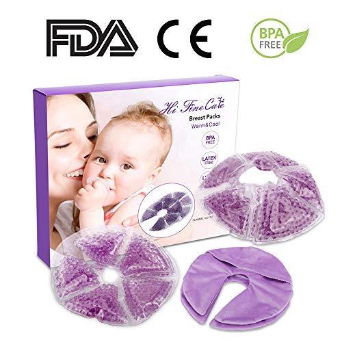HiFineCare, cuscinetti in gel per la terapia del seno, per l'allattamento al seno, con cuscinetti in gel, 2 pezzi, 2 coperture