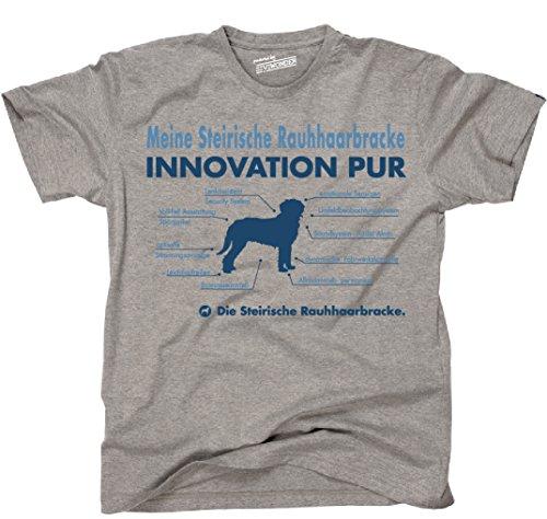 Siviwonder Unisex T-Shirt INNOVATION STEIRISCHE RAUHHAARBRACKE TEILE LISTE Hunde lustig fun Sports Grey