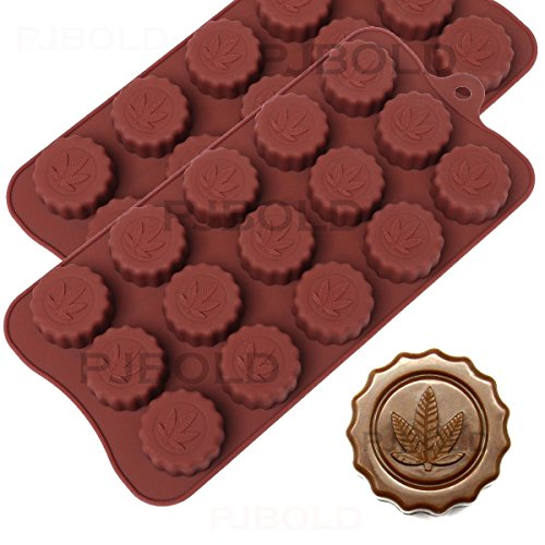 Marihuana-Blatt prägte Silikon-Praline-Form-Eiswürfel-Behälter, 2 Satz - Vorteil Karamell