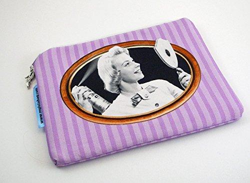 Kosmetiktasche Kosmetiketui handmade Schminktasche bedruckt retro oldshool Damen - nicht perfekt - (Druck-tasche Perfekter)