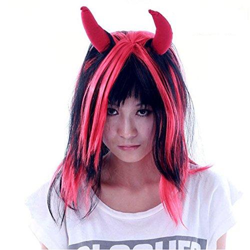 Halloween-Maskerade Perücke/Leistungsstützen/Horns langen glatten Haaren (Ausgeburt Kostüm)