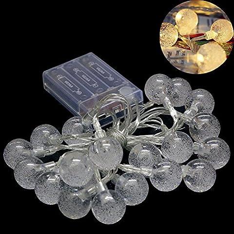 20-LED Guirlandes Lumineuses en Forme de Boule Cristal Transparent à Piles Décoration de Noël Soirée Mariage Anniversaire Festivale Jardin Magasin Maison ( Blanc Chaud )