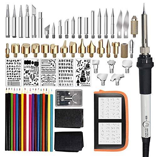 gfjfghfjfh 71PCS 60W Temperatur Einstellbare elektrische Lötkolben Kit Wood Burning Schreibset Schnitzen Pyrography Werkzeuge Schweiß-Hitze-Bleistift