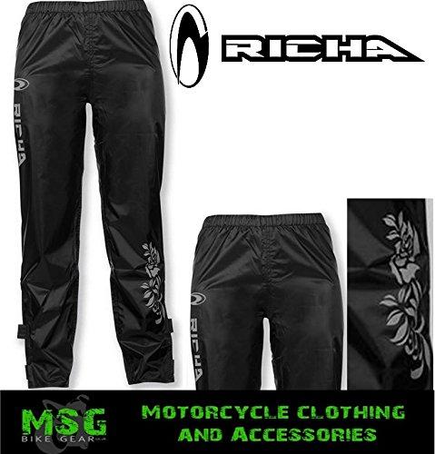 Richa Flower - Damen Motorrad-Regenhose - Überhose - Schwarz - UK12 (M)