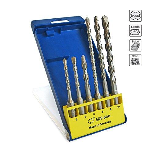 Preisvergleich Produktbild S&R Professional Hammerbohrer SDS-Bohrer-Set, Betonbohrer SDS Plus 6-tlg: 5,6 ,8 x 110mm; 6,8,10, x 160mm für Beton, Granit, Stein. Bohrer für Bohrhammer und Schlag-Bohrmaschine. MADE IN GERMANY