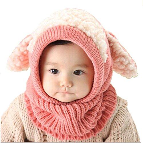 DAYAN Bambino Cappelli di maglia sciarpa ricopre cappelli cucciolo di lana Cappello Inverno colore rosa