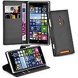 Cadorabo - Funda Nokia Lumia 830 Book Style de Cuero Sintético en Diseño Libro - Etui Case Cover Carcasa Caja Protección (con función de suporte y tarjetero) en NEGRO-FANTASMA