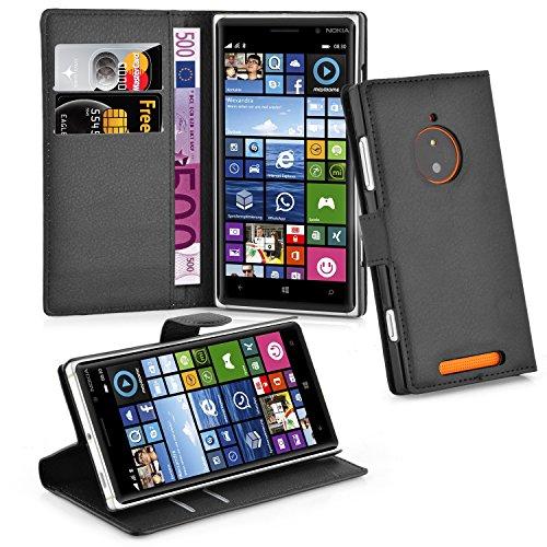 Cadorabo Hülle für Nokia Lumia 830 - Hülle in PHANTOM SCHWARZ – Handyhülle mit Kartenfach und Standfunktion - Case Cover Schutzhülle Etui Tasche Book Klapp Style