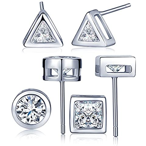 Infinite U 3 Pairs 925 Sterling Silver Cubic Zirconia Triangle/Round/Square Ear Studs Earring Set Earbob for