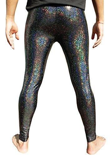 Einhorn Kostüm Sparkly - Holographische Gamaschen für Männer - Schwarz - Groß
