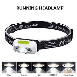 LED Stirnlampe USB Kopflampe Mini Kopfleuchte mit Sensor IPX6 Wasserdicht 4 Modi