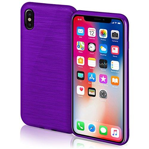 Preisvergleich Produktbild moex iPhone X Hülle Silikon Lila [OneFlow Brushed Back-Cover] TPU Schutzhülle Ultra-Slim Handyhülle für iPhone X Case Dünn Silikonhülle Rückseite Tasche
