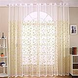 GUOCAIRONG® Solid Neue klassische Blütenvorhang Fenster Screening Gelb Transparente Tüll Vorhänge Behandlungen Wohnzimmer Sheer Vorhang 1 Stück , 4*2.7m