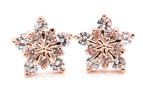 findout rosé vergoldet Sterling Silber AAA grade Zirkon Super-Flash-Schneeflocke Ohrringe (F1679) (Rosé vergoldet) -