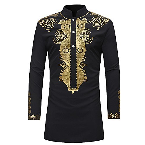 Rera Herren Sommer Langarm Hemd mit Stehkragen Dashiki Gedruckt Afrikanisch Stil Tribal Hemd Lang Traditionelle Beiläufige Kostüme (Schwarz, XXXL)