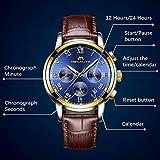 Mens Watches Men Sport Waterproof Luminous Date Leather Wrist Watch Business Dress Chronograph Watches for Men