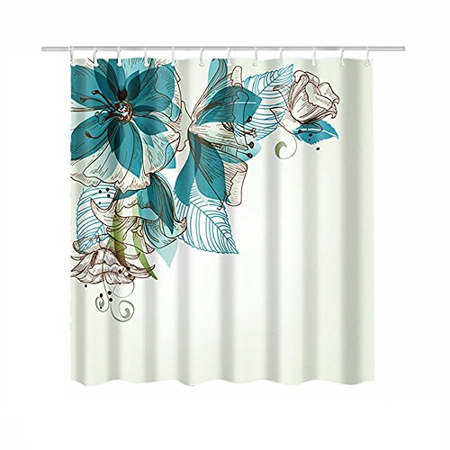 Cortina baño 180x180 antimoho, Cortina de ducha impermeable con Imagen de Racimo de flores , con 12 Ganchos