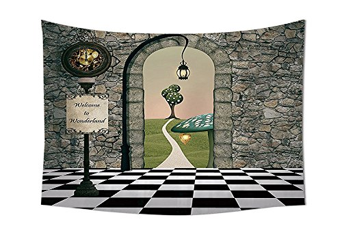 Tapisserie Dekorationen Welcome Wonderland schwarz und weiß Boden Baum Landschaft Pilz Laterne Schlafzimmer Wohnzimmer Wohnheim Wand Gobelin Multi, multi, 59W By 39.3L Inch (Zeichen Von Alice Im Wunderland)