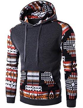 OverDose hombres retro bohemio de manga larga con capucha Sudadera con capucha Tops Outwear la capa de la chaqueta