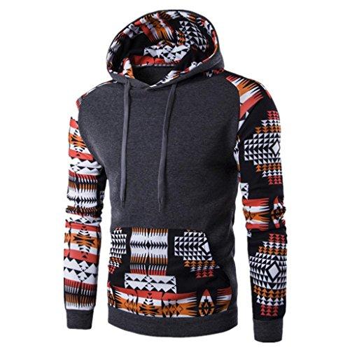 OverDose Los hombres retro bohemio de manga larga con capucha Sudadera con capucha Tops Outwear la capa de la chaqueta (L, Gris oscuro-2)