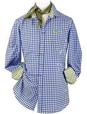 Top-Quality Trachtenhemd Herren Slim fit - Blau-Karo/kariert - Langarm/Kurzarm - Komfort Baumwolle