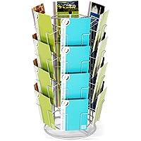 Fluhr Displays KK 24 - Soporte para postales y tarjetas (con 24 compartimentos verticales, 130 x 180 mm), color plateado