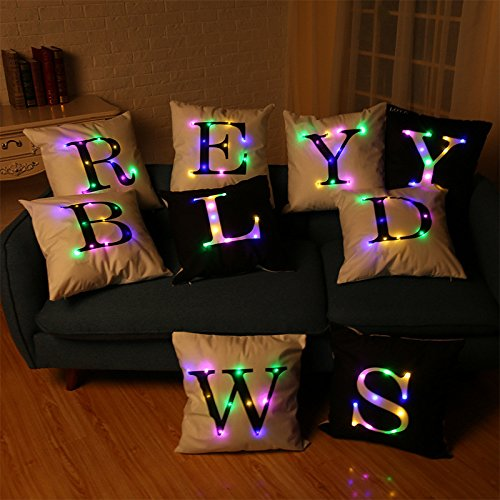 Indexp LED Lighting 26 Letters Printing Christmas Festival Throw Cushion Cover Sofa Home Decoration Pillow case (L(45X45cm))