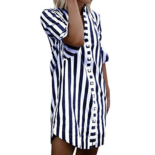 Damen Bluse Innerternet Frauen Oberteil V-Ausschnitt Gestreift Halbe Hülse Tunika Elegant Casual 3/4 Ärmel Long Bluse Hemdblusenkleid Henley Shirt Pullover Herbst Bekleidung