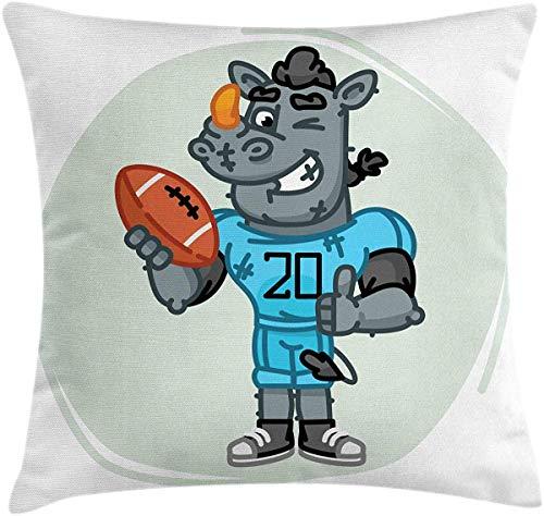 JamirtyRoy1 Kissenbezug, Rhino Überwurf, Fußball-Maskottchen mit Trikot und Ball, Cartoon-Stil, Dekorativer quadratischer Akzent, 66 x 66 cm, Mehrfarbig