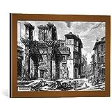 "Cuadro con marco: Giovanni Battista Piranesi ""View of the Remains of the Forum of Nerva, from the 'Views of Rome' series, 1758"" - Impresión artística decorativa con marco de alta calidad, 60x40 cm, Cobre cepillado"