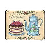 WOCNEMP Tea Time Berry Cake Teiera Portatile e Pieghevole Coperta Mat 60x78 Pollici Handy Mat per Il Campeggio Picnic Beach Indoor Outdoor Travel