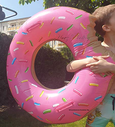 Blue Wave Aufblasbarer Schwimmreifen Donut mit Biss Style ~90 cm Durchmesser Pink