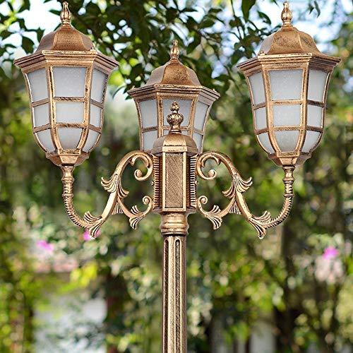 Cast Aluminum Pfosten Laterne Hohe Pole Traditionelle E27 Hof Straßenlaterne Aluminium-Druckguss Exterior Garten-Yard-Auffahrt 3-Köpfe Säule Lampe (Größe : 2.40m)