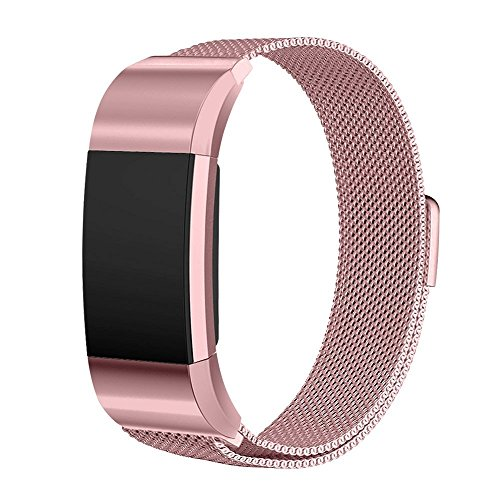 Fitbit Charge 2 Band, Magicmoon Milanese Loop acciaio cinturino in acciaio Banda sostituzione con Unico magnete di blocco, No Fibbia Needed per Fitbit Charge 2 HR Fitness Tracker (Rose Pink Gold, Large)