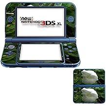 Flores 10052, Flor Blanca, Pegatina de piel cubierta de vinilo con laminado efecto de cuero y diseño colorido para New Nintendo 3DS XL Sticker