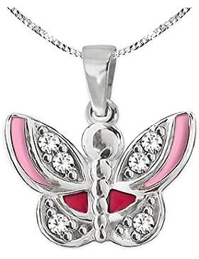CLEVER SCHMUCK-SET Silberner Anhänger Mini Schmetterling 8 x 11 mm rosa und rot lackiert und viele Zirkonias mit...
