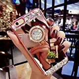 Coque iPhone 6,Coque iPhone 6S,ikasus [Support de bague] Placage brillant strass diamant Miroir Silicone Gel TPU Souple Housse Etui Protection Case Coque Housse pour iPhone 6/iPhone 6S,Or rose