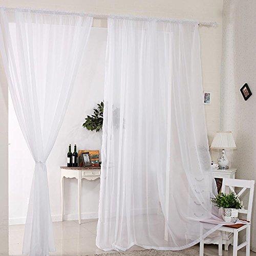 2 Stück Gardine Vorhang transparent aus Voile Dekoschal 140x180cm Weiß