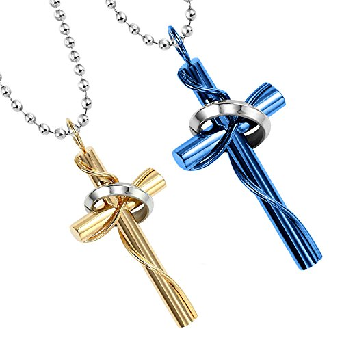 mendino-mens-womens-stainless-steel-cross-circle-pendant-necklace-couple-gold-blue-colour-polished-w