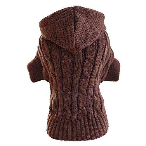 ubest Hundepullover, Sweater Gestrickter Pullover mit Kapuze für Kleine Hunde, Hunde Pullover Katzenpullover für Herbst Winter, Braun, XL Xl Hund Sweatshirts